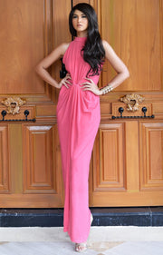 JESSY - Long Travel Vacation Holiday Maxi Dress Summer Spring Beach - Hot Fuchsia Pink / 2X Large