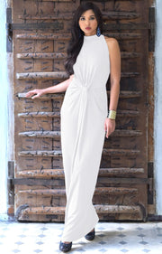 JESSY - Long Travel Vacation Holiday Maxi Dress Summer Spring Beach - Ivory White / 2X Large