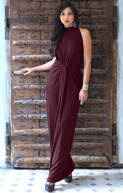 JESSY - Long Travel Vacation Holiday Maxi Dress Summer Spring Beach - Maroon Wine Red / Extra Small