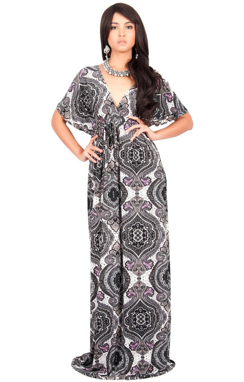 JEZEBEL - Summer Sun Sexy Kaftan Evening Caftan Print Gown Maxi Dress - Black & White / Large