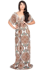 JEZEBEL - Summer Sun Sexy Kaftan Evening Caftan Print Gown Maxi Dress - Brown & White / Large