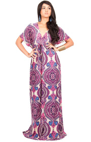JEZEBEL - Summer Sun Sexy Kaftan Evening Caftan Print Gown Maxi Dress - Purple & White / Large