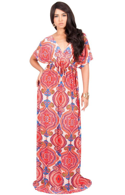 JEZEBEL - Summer Sun Sexy Kaftan Evening Caftan Print Gown Maxi Dress - Red & White / Large