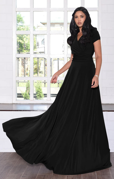JULIANA - Long Full Floor Short Cap Sleeves Cocktail Maxi Dress Gown - Black / Extra Small