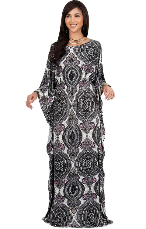 KADEN - Boho Maternity Kaftan Long Abaya Moroccan Maxi Dress - Black Ivory & Pink / Large
