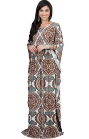 KADEN - Boho Maternity Kaftan Long Abaya Moroccan Maxi Dress - Brown Ivory & Green / Large
