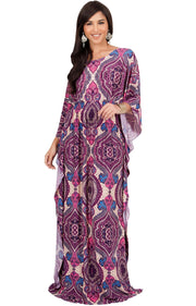 KADEN - Boho Maternity Kaftan Long Abaya Moroccan Maxi Dress - Pink Purple & Blue / Large