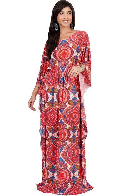 KADEN - Boho Maternity Kaftan Long Abaya Moroccan Maxi Dress - Red Blue & Ivory / Large