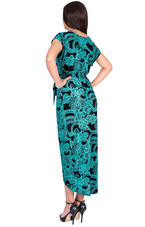 KADY - Printed Crewneck Cap Sleeve Split Pencil Skirt Midi Maxi Dress