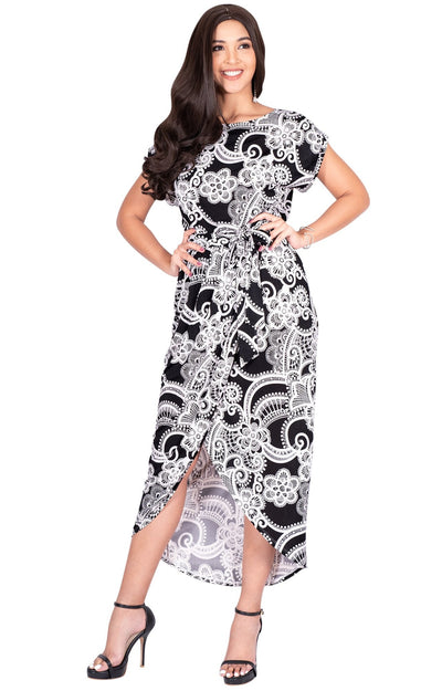 KADY - Printed Crewneck Cap Sleeve Split Pencil Skirt Midi Maxi Dress - Black & White / Small