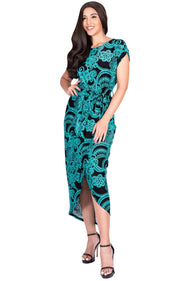 KADY - Printed Crewneck Cap Sleeve Split Pencil Skirt Midi Maxi Dress - Green & Black / Small