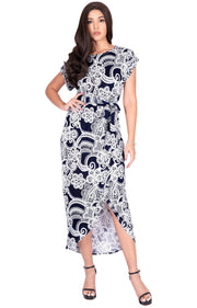 KADY - Printed Crewneck Cap Sleeve Split Pencil Skirt Midi Maxi Dress - Navy Blue & White / Small