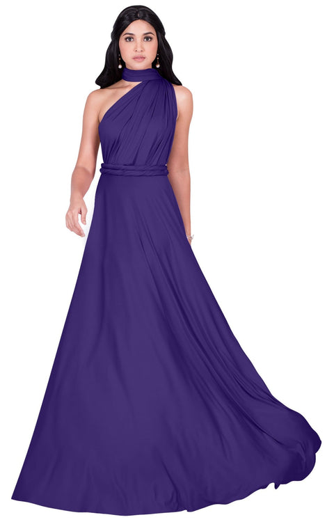 KAYLEE - Long Sexy Wrap Convertible Tall Bridesmaid Maxi Dress Gown
