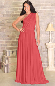 KAYLEE - Long Sexy Wrap Convertible Tall Bridesmaid Maxi Dress Gown - Brick Red / 2X Large