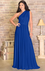 KAYLEE - Long Sexy Wrap Convertible Tall Bridesmaid Maxi Dress Gown - Cobalt / Royal Blue / 2X Large