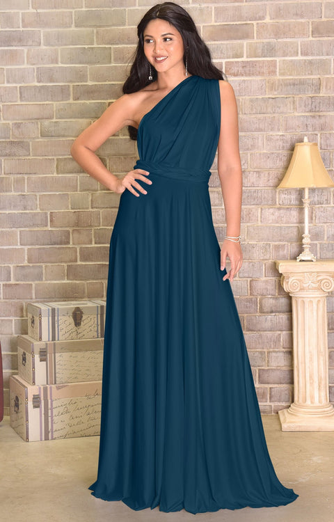 KAYLEE - Long Sexy Wrap Convertible Tall Bridesmaid Maxi Dress Gown - Dark Blue Teal / 2X Large
