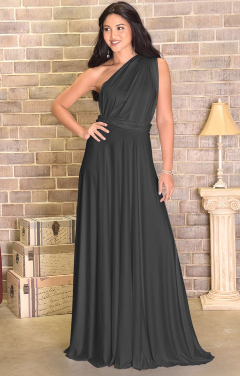KAYLEE - Long Sexy Wrap Convertible Tall Bridesmaid Maxi Dress Gown - Dark Gray Grey / Extra Small