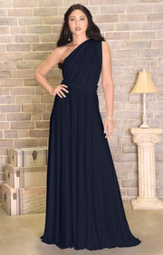 KAYLEE - Long Sexy Wrap Convertible Tall Bridesmaid Maxi Dress Gown - Dark Navy Blue / 2X Large