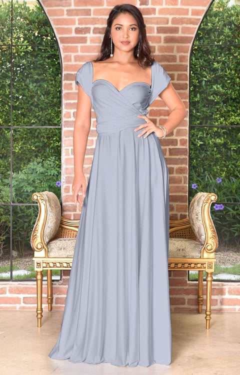 KAYLEE - Long Sexy Wrap Convertible Tall Bridesmaid Maxi Dress Gown - Gray / Grey / 2X Large