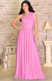 KAYLEE - Long Sexy Wrap Convertible Tall Bridesmaid Maxi Dress Gown - Hot Fuchsia Pink / 2X Large