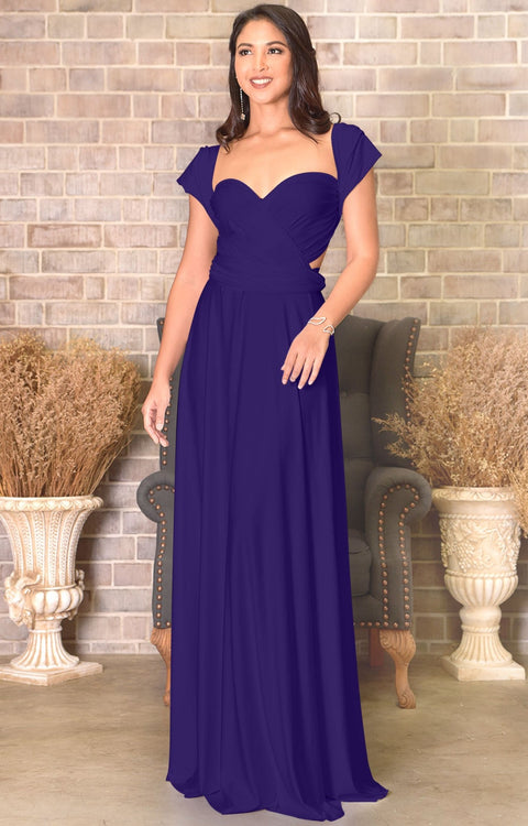 KAYLEE - Long Sexy Wrap Convertible Tall Bridesmaid Maxi Dress Gown - Indigo Blue Purple / 2X Large