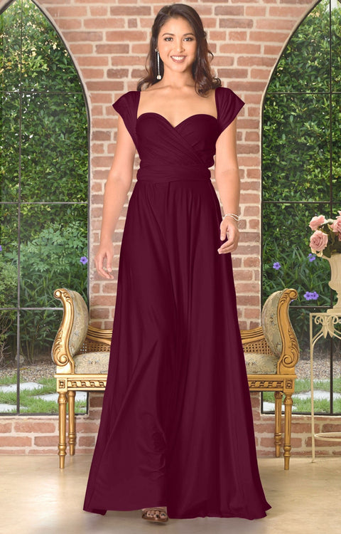 KAYLEE - Long Sexy Wrap Convertible Tall Bridesmaid Maxi Dress Gown - Maroon Wine Red / 2X Large