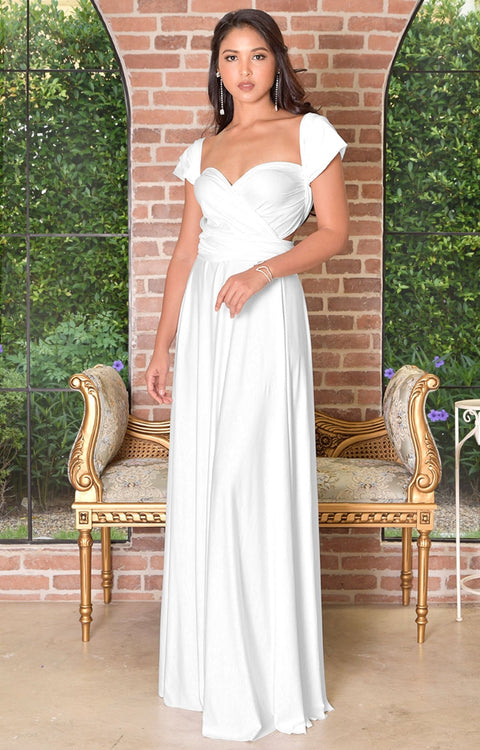 KAYLEE - Long Sexy Wrap Convertible Tall Bridesmaid Maxi Dress Gown - White / 2X Large