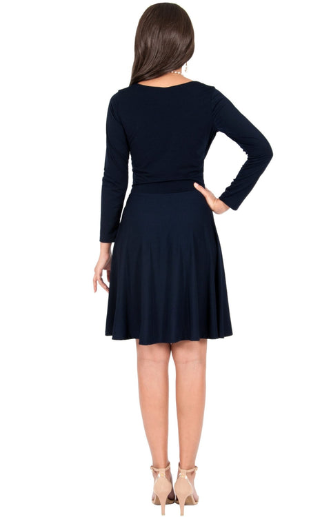 KIARA - Long Sleeve Swing Knee Length Fall Modest Dressy Midi Dress