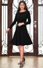 KIARA - Long Sleeve Swing Knee Length Fall Modest Dressy Midi Dress - Black / 2X Large