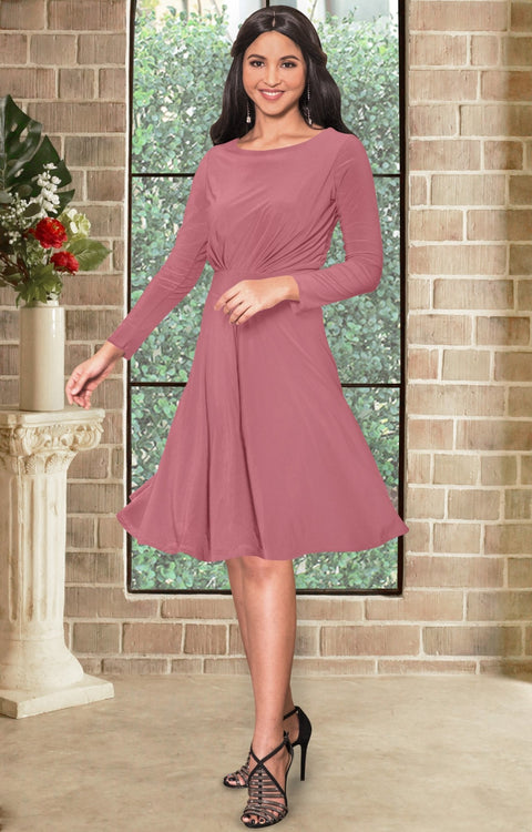 KIARA - Long Sleeve Swing Knee Length Fall Modest Dressy Midi Dress - Cinnamon Rose Pink / 2X Large