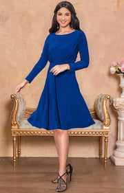 KIARA - Long Sleeve Swing Knee Length Fall Modest Dressy Midi Dress - Cobalt Royal Blue / Extra Small