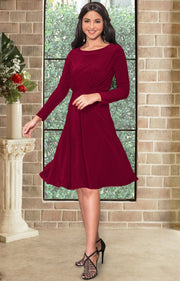 KIARA - Long Sleeve Swing Knee Length Fall Modest Dressy Midi Dress - Crimson Dark Red / 2X Large