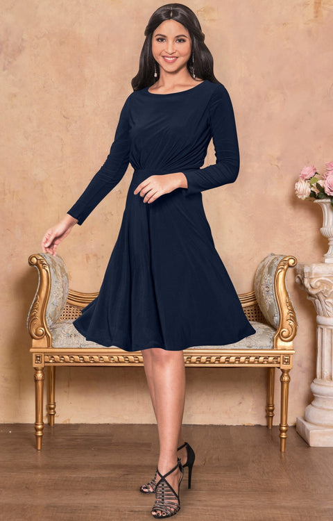 KIARA - Long Sleeve Swing Knee Length Fall Modest Dressy Midi Dress - Dark Navy Blue / 2X Large