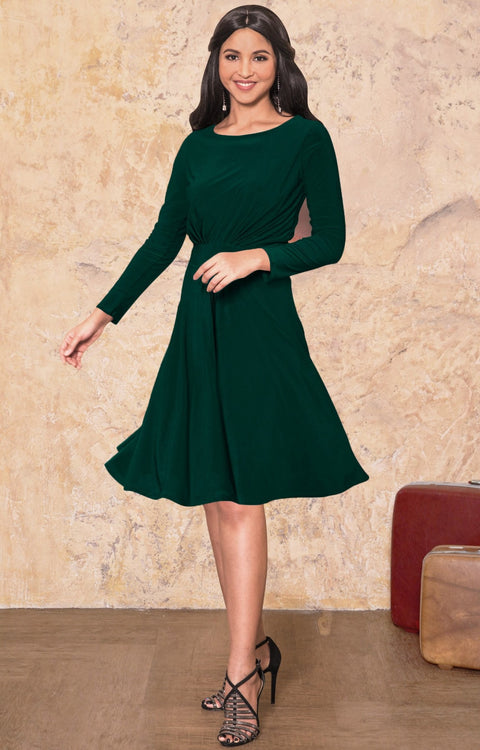 KIARA - Long Sleeve Swing Knee Length Fall Modest Dressy Midi Dress - Emerald Green / 2X Large