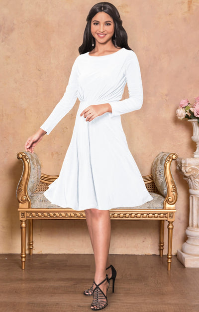 KIARA - Long Sleeve Swing Knee Length Fall Modest Dressy Midi Dress - Ivory White / 2X Large