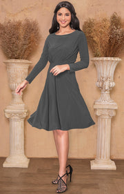 KIARA - Long Sleeve Swing Knee Length Fall Modest Dressy Midi Dress - Pewter Gray Grey / 2X Large
