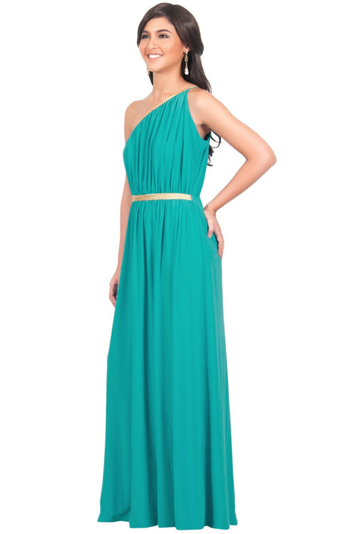 KYLIE - Cleopatra Maxi Dress Evening Bridesmaid for Summer Gown w/ Gold Braid