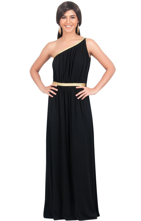 KYLIE - Cleopatra Maxi Dress Evening Bridesmaid for Summer Gown w/ Gold Braid - Black / 2X Large