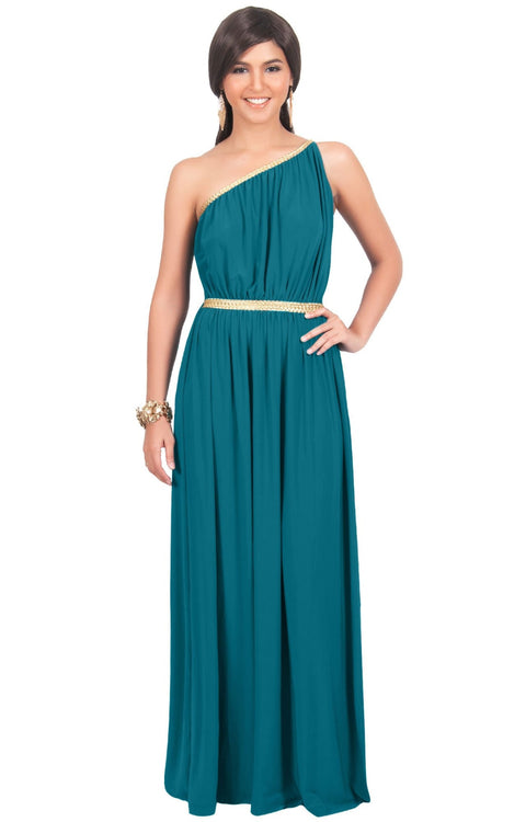 KYLIE - Cleopatra Maxi Dress Evening Bridesmaid for Summer Gown w/ Gold Braid - Blue Green Jade / Small