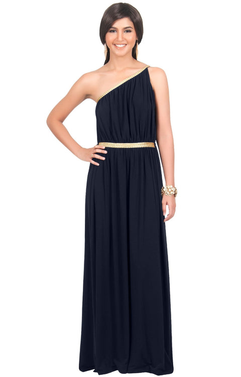 KYLIE - Cleopatra Maxi Dress Evening Bridesmaid for Summer Gown w/ Gold Braid - Dark Navy Blue / 2X Large
