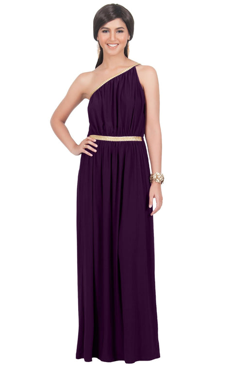 KYLIE - Cleopatra Maxi Dress Evening Bridesmaid for Summer Gown w/ Gold Braid - Purple / 2X Large