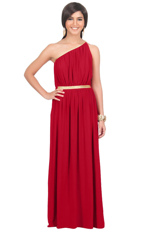 KYLIE - Cleopatra Maxi Dress Evening Bridesmaid for Summer Gown w/ Gold Braid - Red / 2X Large