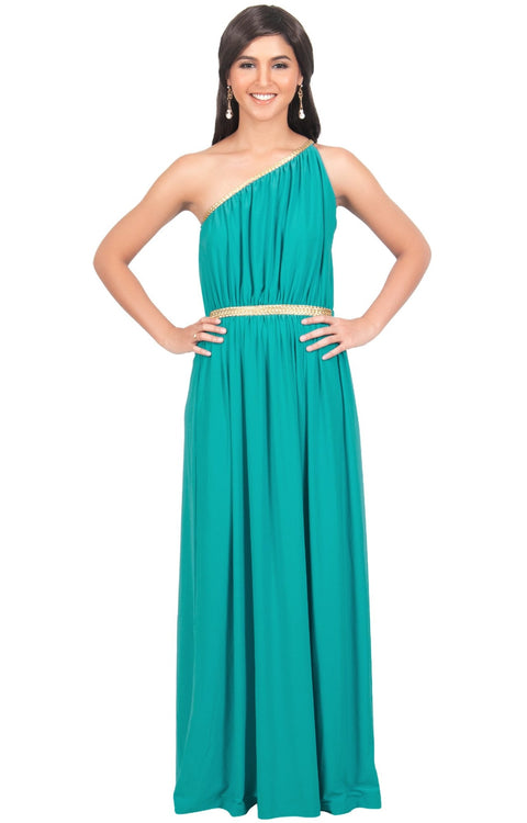 KYLIE - Cleopatra Maxi Dress Evening Bridesmaid for Summer Gown w/ Gold Braid - Turquoise / 2X Large