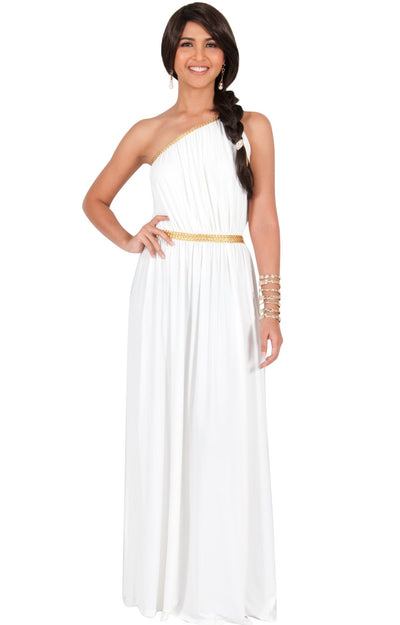 KYLIE - Cleopatra Maxi Dress Evening Bridesmaid for Summer Gown w/ Gold Braid - White / 2X Large