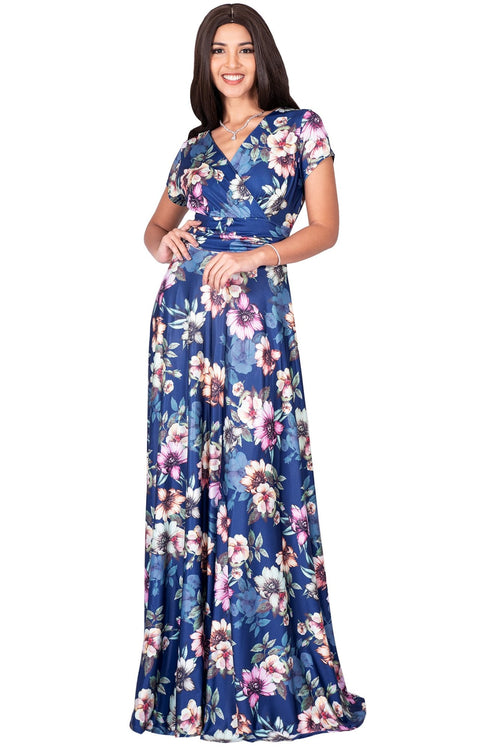 LACY - Long Flowy Short Cap Sleeve Summer Floral Print Maxi Dress Gown