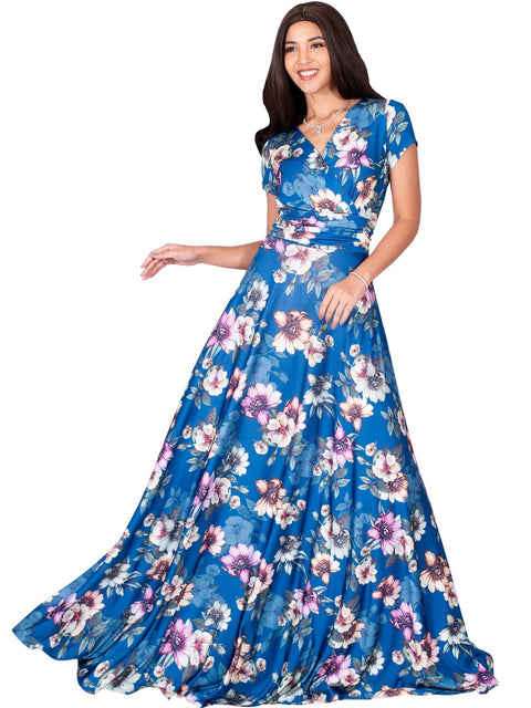 LACY - Long Flowy Short Cap Sleeve Summer Floral Print Maxi Dress Gown - Blue Teal & Pink / Extra Small