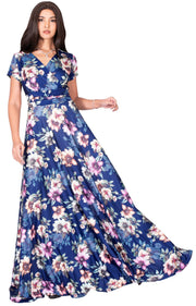 LACY - Long Flowy Short Cap Sleeve Summer Floral Print Maxi Dress Gown - Navy Blue & Pink / Extra Small