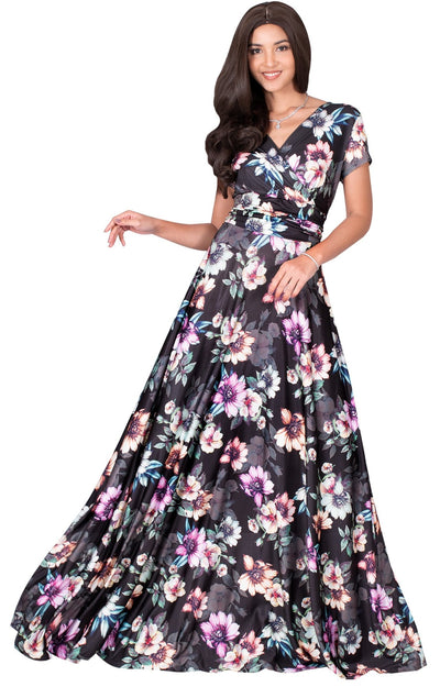 LACY - Long Flowy Short Cap Sleeve Summer Floral Print Maxi Dress Gown - Pink & Black / Extra Small