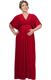 LANE - Kimono V-Neck Sleeve Elastic Sexy Maxi Dress