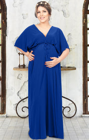 LANE - Kimono V-Neck Sleeve Elastic Sexy Maxi Dress - Cobalt Royal Blue / Small